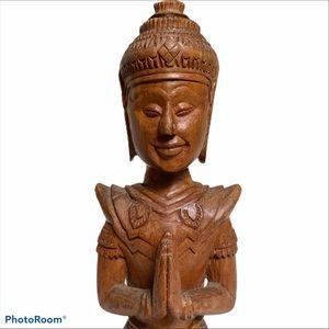 Vintage Indonesia teak Buddha statue hand carved